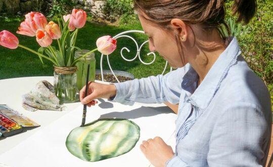 cecile dans sa bulle aquarelle pastèque